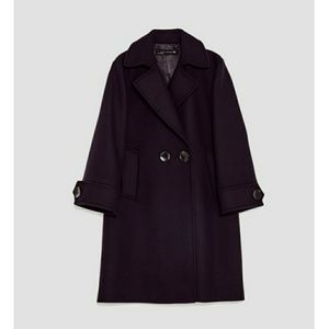 Large navy zara coat new